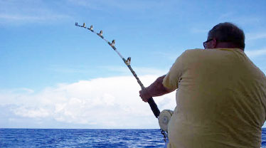 Dana Murphy fishing in Rum Cay Bahamas